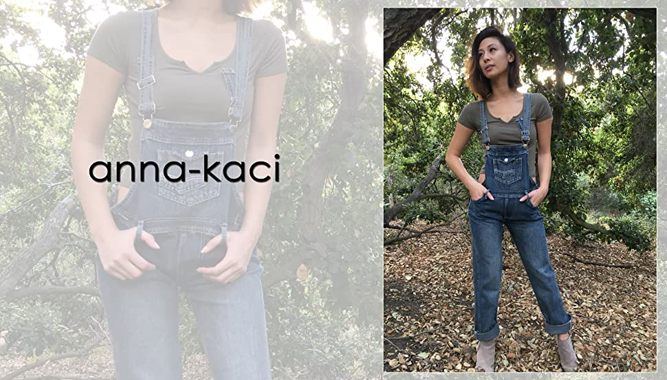 5b357a454f64 Anna-Kaci Womens Vintage Wash Straight Leg Denim Overalls with Pocket Bib