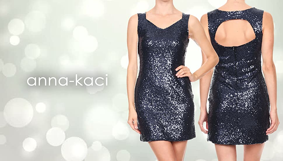 6a4015ec288 Anna-Kaci Womens Sexy V Neck Sleeveless Navy Sequin Back Cut Out Cocktail Mini  Dress