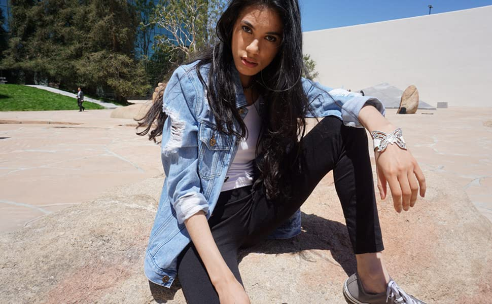 29b365a9c05 Anna-Kaci Womens Oversized Loose Jean Coats Long Sleeve Boyfriend ...