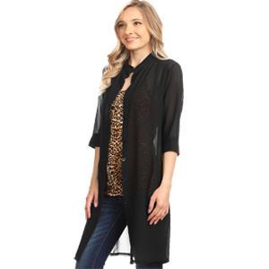 106195b98feb68 Anna-Kaci Junior Womens Black Sheer Chiffon Long Tunic Blouse Dress ...