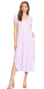 7d81d16127c Women s Casual Loose V-Neck Pocket Maxi Short Sleeve Split Long Dress ·  Women s Stretchy 3 4 Sleeve V Neck Button Ruffle Hem T Shirt Mini Dress ...
