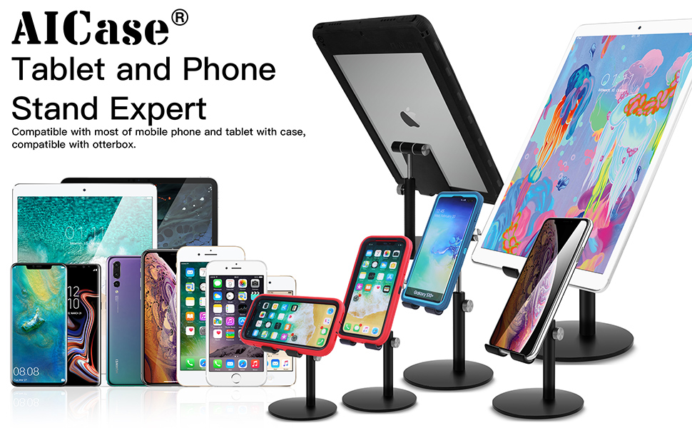 AICase Tablet/Phone Stand, Universal Multi-Angle & Height Adjustable Stand
