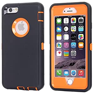 iPhone 6 Case, iPhone 6S Case [Heavy Duty] AICase Built-in Screen Protector Tough 3 in 1 Rugged Shockproof Cover for Apple iPhone 6/6S (Orange with ...