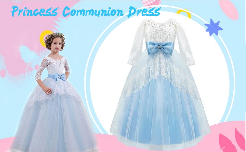 Amazon.com: Acecharming Lace Flower Girl Dress Backless Princess ...