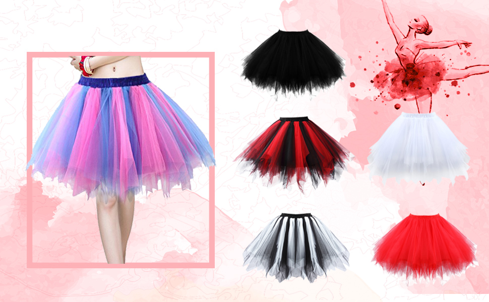5d1cde6fdad1 Girls Ballet Bubble Tutu Skirts Tulle Petticoat Women Classic Layered  Underskirt with Multi-color