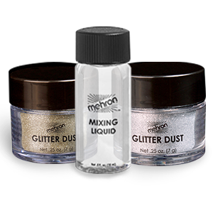 Mehron Makeup GlitterDust (GOLD & SILVER) with Free Mini Mixing Liquid
