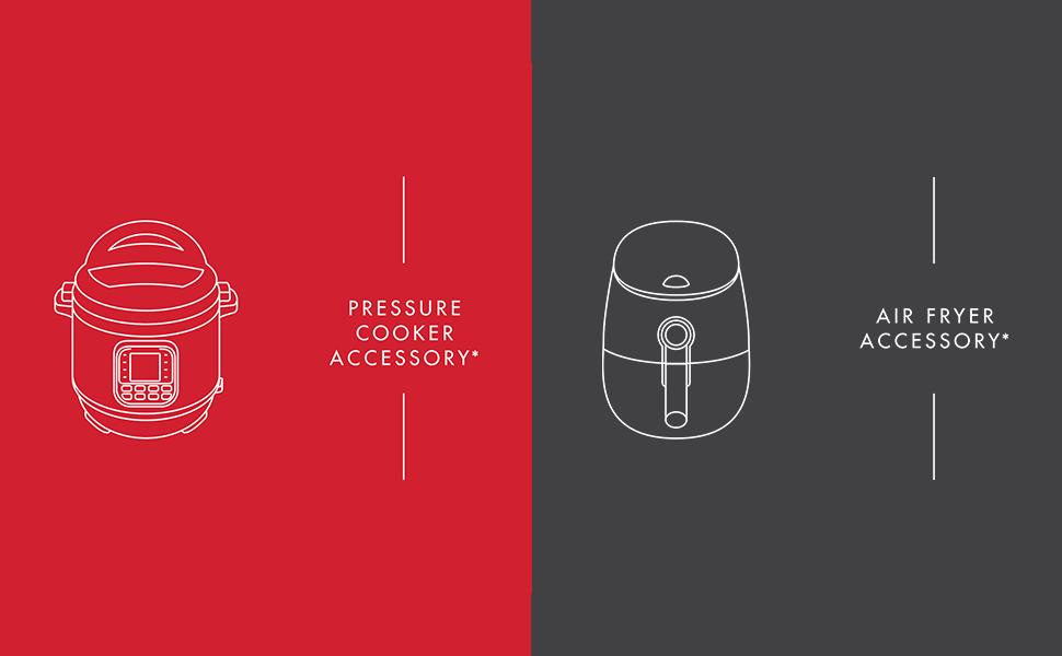 air fryer, instant pot, pressure cooker, accessories, illustration