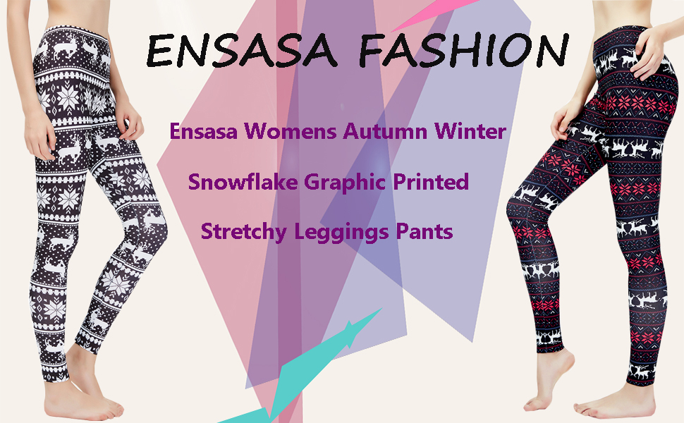6e1250c1407b0 Ensasa Womens Autumn Winter Snowflake Graphic Printed Stretchy ...