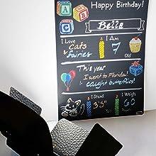 Milestone Board Chalkboard Birthday Chalk Art Memories Photo Prop Event Blackboard Grow Glare Matte