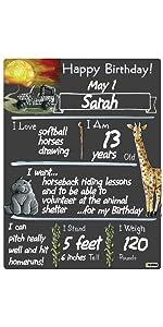 Birthday Memories Milestone Board Chalkboard Growth Photo Prop Family Kids Youth Baby Celebrate