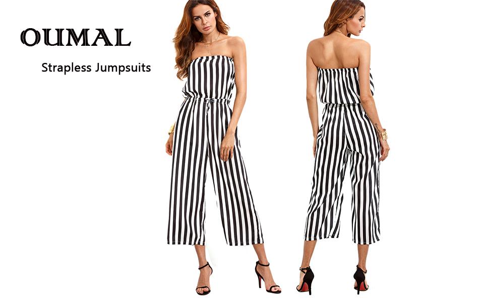 6795ba545151 Amazon.com  Code Women Strapless Jumpsuits Off Shoulder Cute Striped ...