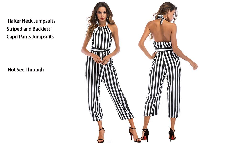 98b82f00963f Amazon.com  OUMAL Women Summer Jumpsuits Halter Neck Striped Wide ...