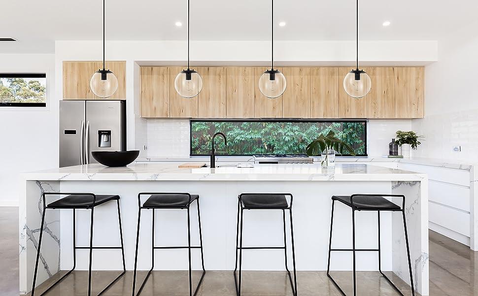 Sferra Black Globe Pendant Light Fixture Farmhouse Pendant Lighting For Kitchen Island Modern Hanging Lights With Large Clear Glass Globe And Led Edison Bulb Included Amazon Com