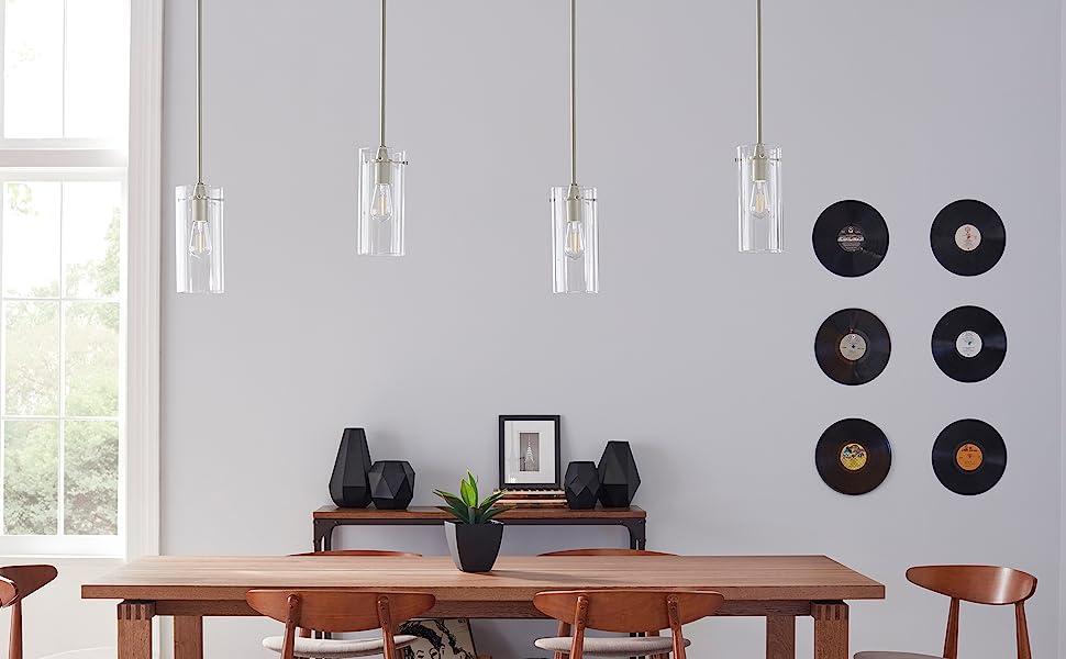 Effimero Large Hanging Pendant Light | Brushed Nickel Kitchen Island Light,  Clear Glass Shade LL-P315-BN