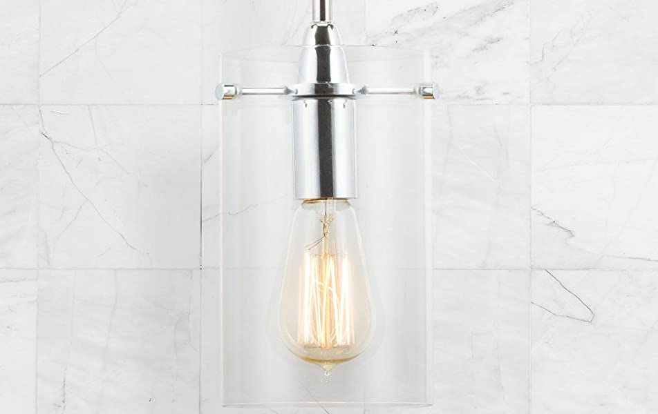 Effimero medium stem hung clear glass contemporary pendant light a minimalist clear cylindrical glass surround allows the lamp to appear to float in mid air switch the pendant on and aloadofball Choice Image