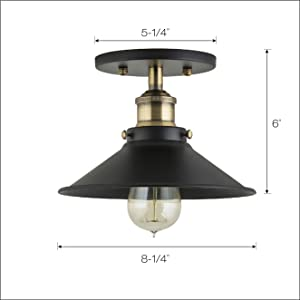Andante Industrial Vintage Ceiling Light Fixture Black W Antique Brass Semi Flush Mount Ceiling Light Ll C407 Ab Amazon Com