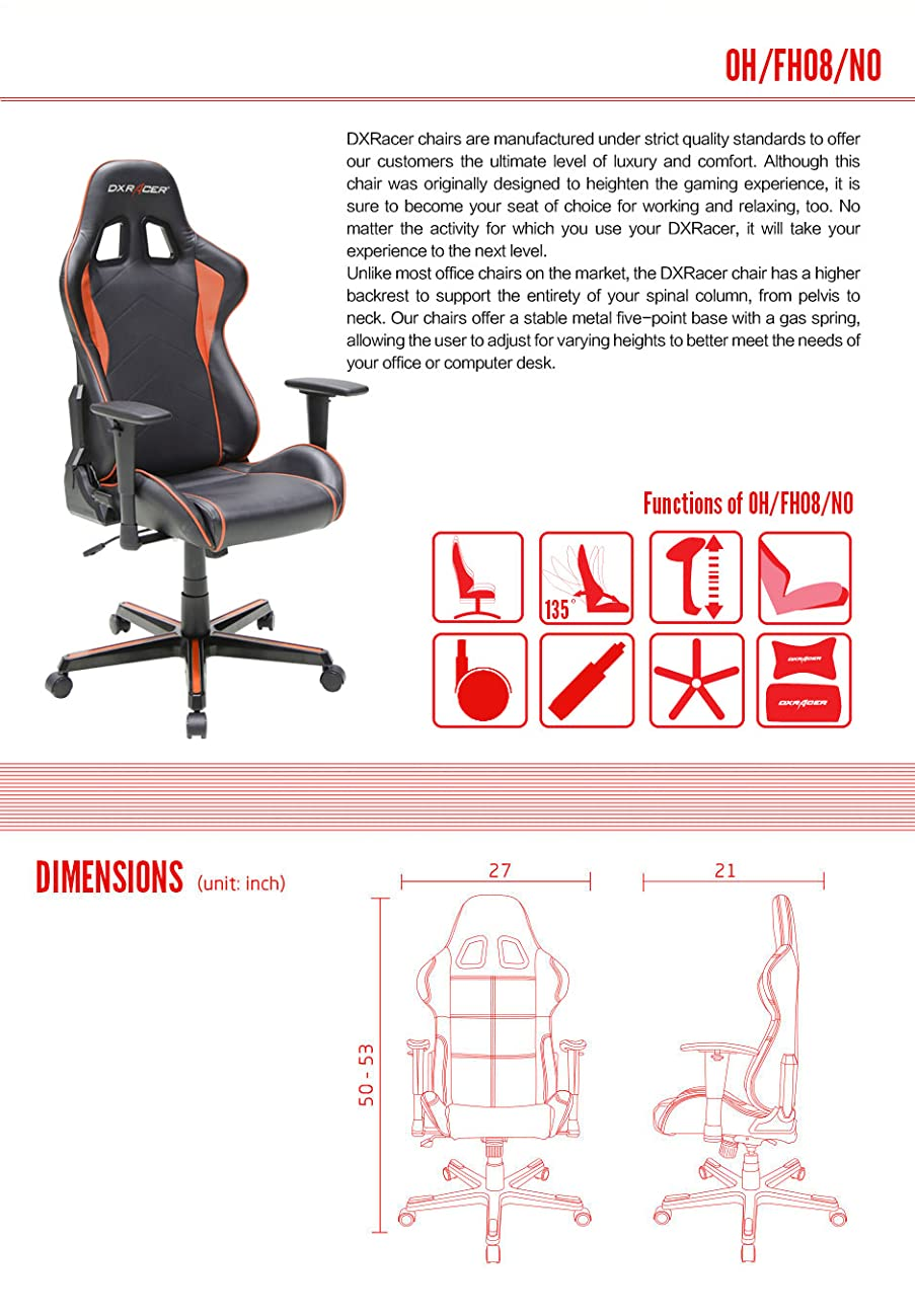 dxracer gaming chair formula series dohfh08no with pillows