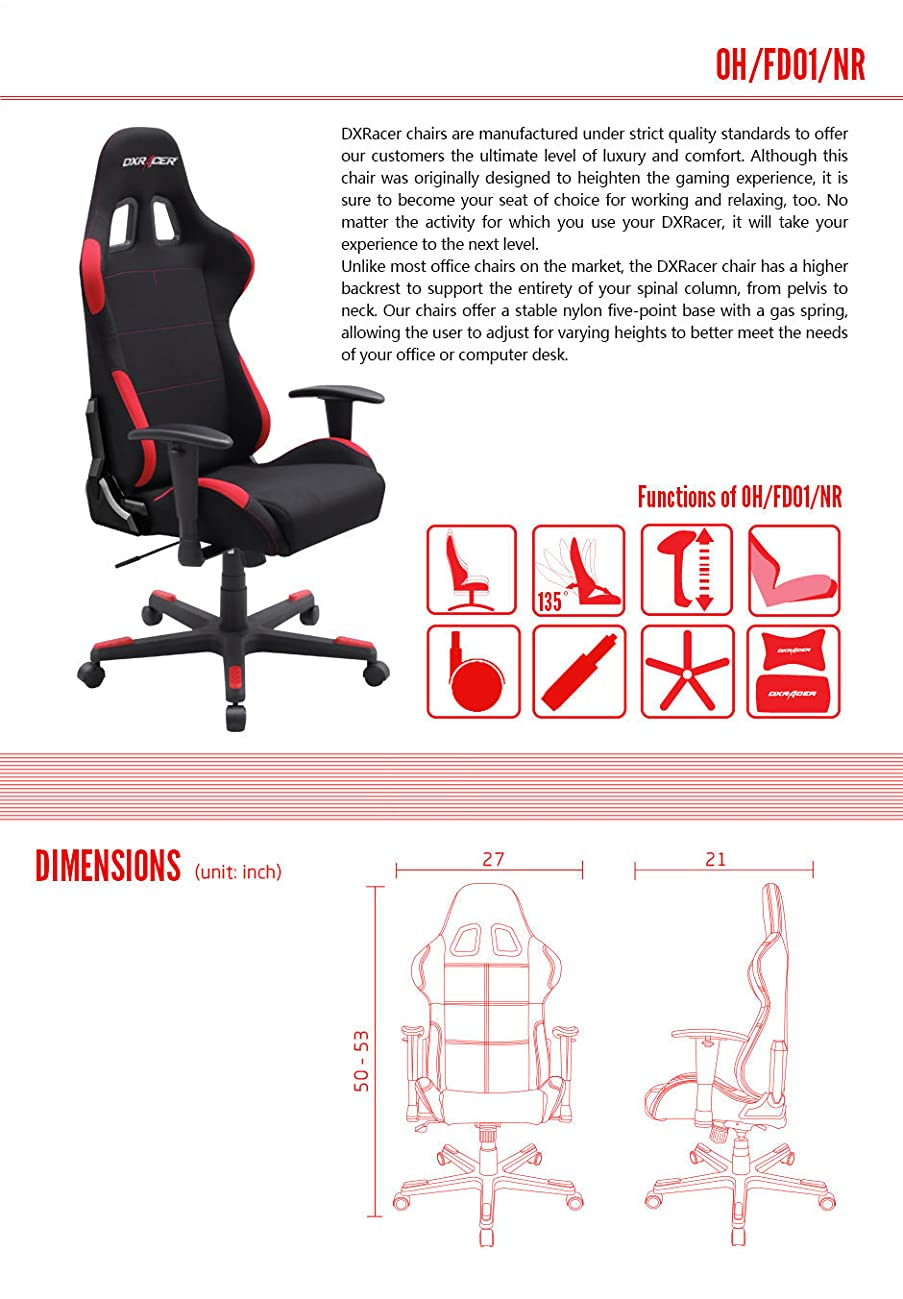 DXRacer Formula Series DOH/FD01/NR Office Chair Gaming Chair Ergonomic Computer Chair eSports Desk Chair Executive Chair Furniture with Free Cushions