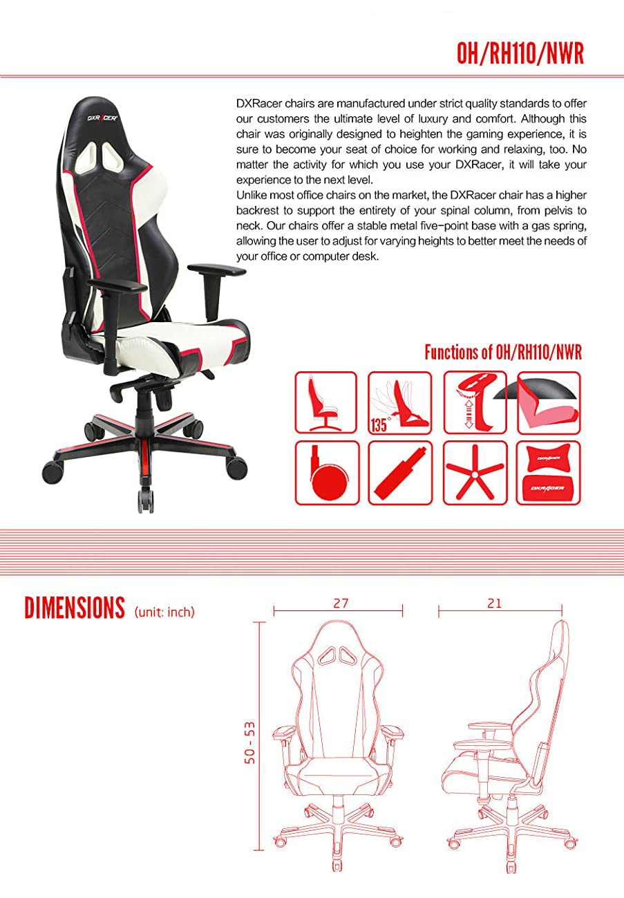 Gaming Office Chair Dxracer Ohrh110nwr Racing Series yYg6v7bf