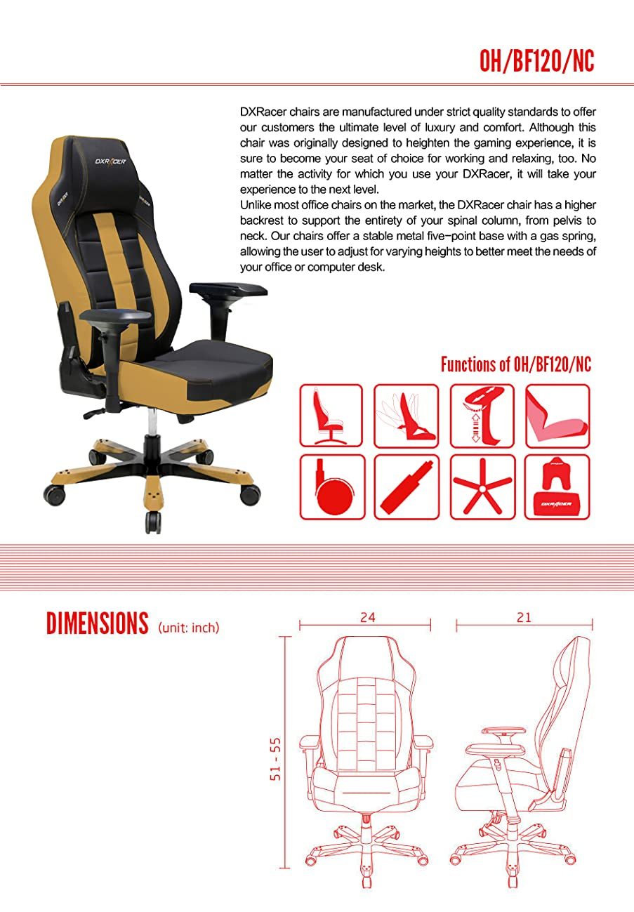 DXRacer Office Chair Boss Series DOH/BF120/NC with Pillows