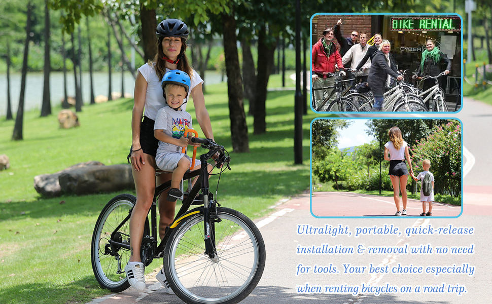 Mounta Bike Front-Mount Child Seat Foldable Ultralight Bicycle Carrier Handrail