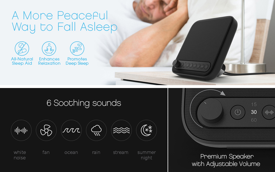 wave premium sleep therapy sound machine black 2nd generation with improved. Black Bedroom Furniture Sets. Home Design Ideas