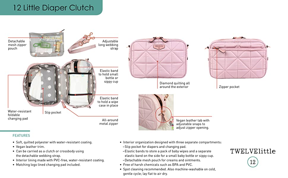 New Diapees and Wipees Diaper and Wipes Clutch Travel Bag Chic Pink Print