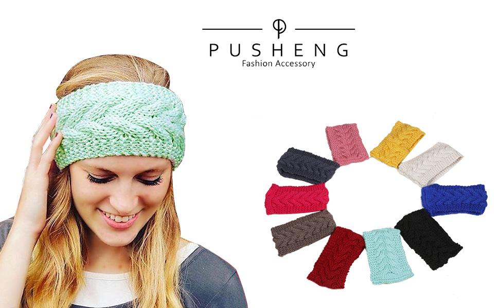 Pusheng Women\'s Versatile Wool Knit Crochet Twist Hair Band Headband ...