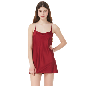 MOMMESILK Sexy Lingerie Women s Slip Sleepwear Silk Chemise ... 2f5ab2fa2