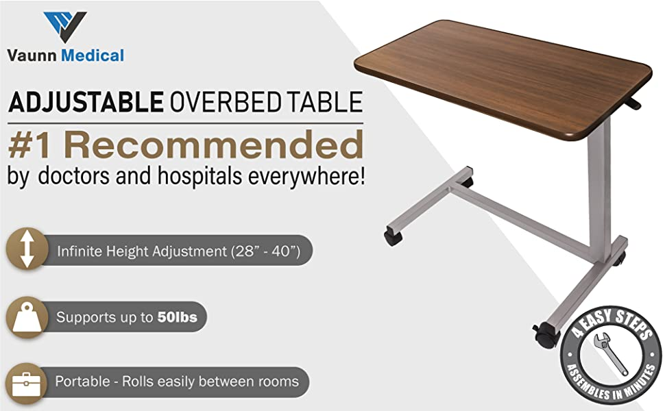 Remarkable Vaunn Medical Adjustable Overbed Bedside Table With Wheels Hospital And Home Use Creativecarmelina Interior Chair Design Creativecarmelinacom