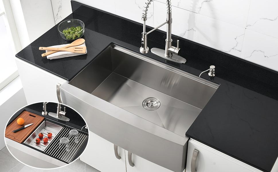 33 Stainless Farmhouse Sink Bokaiya 33 X22 Farmhouse Apron Front Kitchen Sink Workstation 16 Gauge Stainless Steel Single Bowl Farm Sink