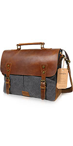 a07b490cf5 Lifewit Mens Messenger Bag 15.6 Inch Waterproof Waxed Canvas Leather Laptop  Bag · Lifewit 14 inch Leather Vintage Canvas Laptop Messenger Bag ...