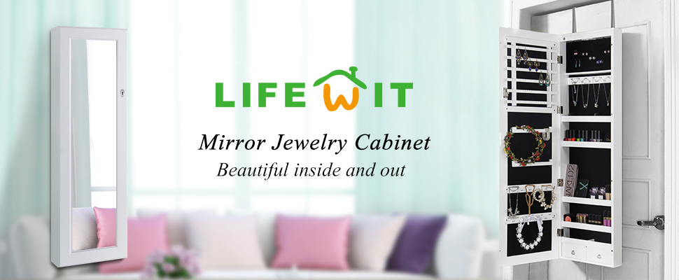 Amazoncom Lifewit Lockable Full Length Mirrored Jewelry Cabinet