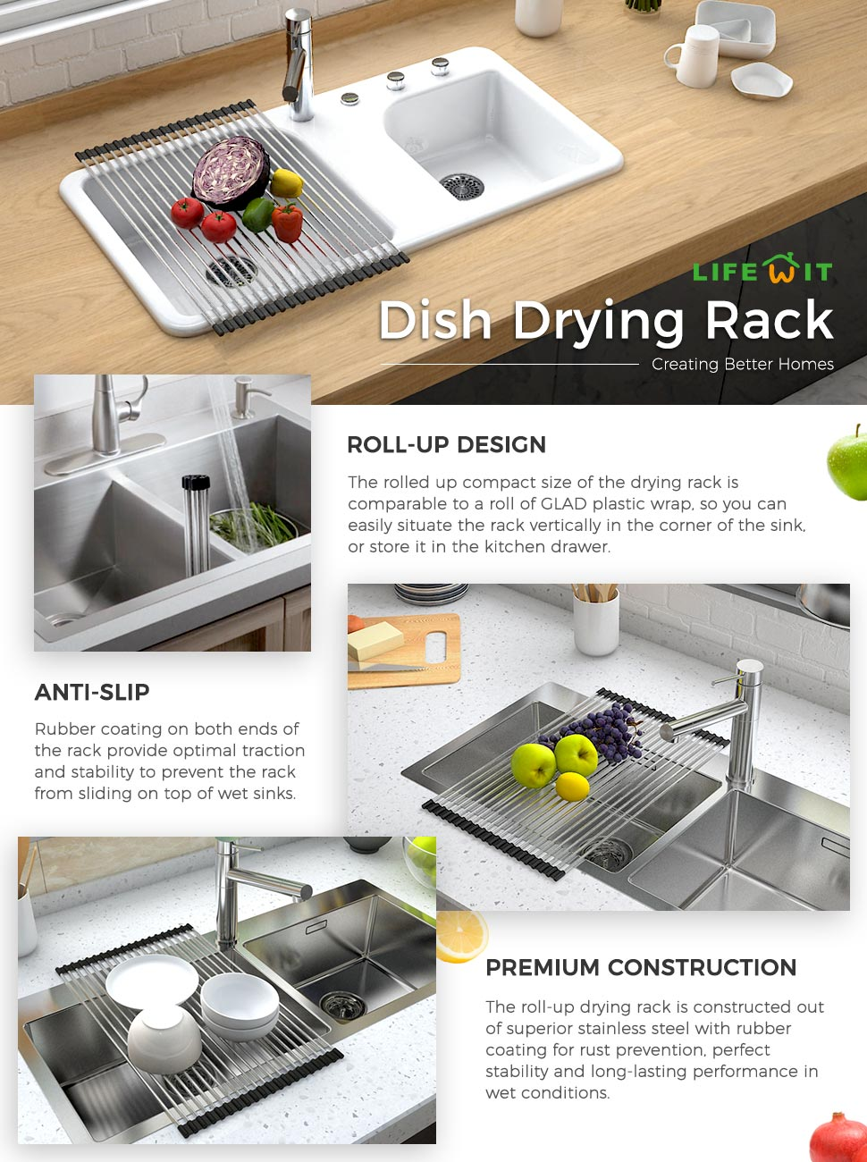 Over The Sink Drying Rack Amazoncom Lifewit 204 X 133in Dish Drainer Over Sink Roll Up
