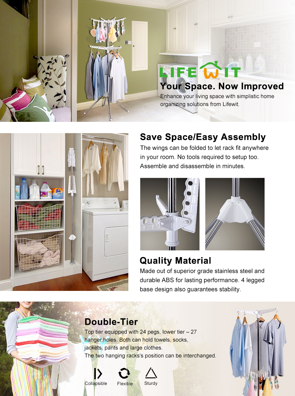 the lifewit clothes drying rack is a lightweight and portability solution for clothes hanging and drying the materials that make up the rack are superior - Clothes Hanger Rack
