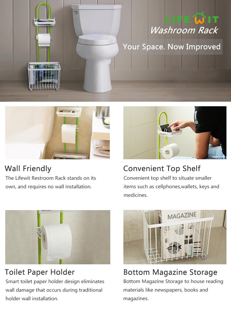 Amazon.com: Lifewit Toilet Tissue Paper Roll Storage Holder Stand ...