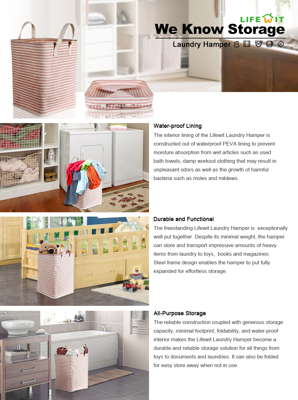 Product Descriptions: Descriptions: Lifewit Storage Hamper ...