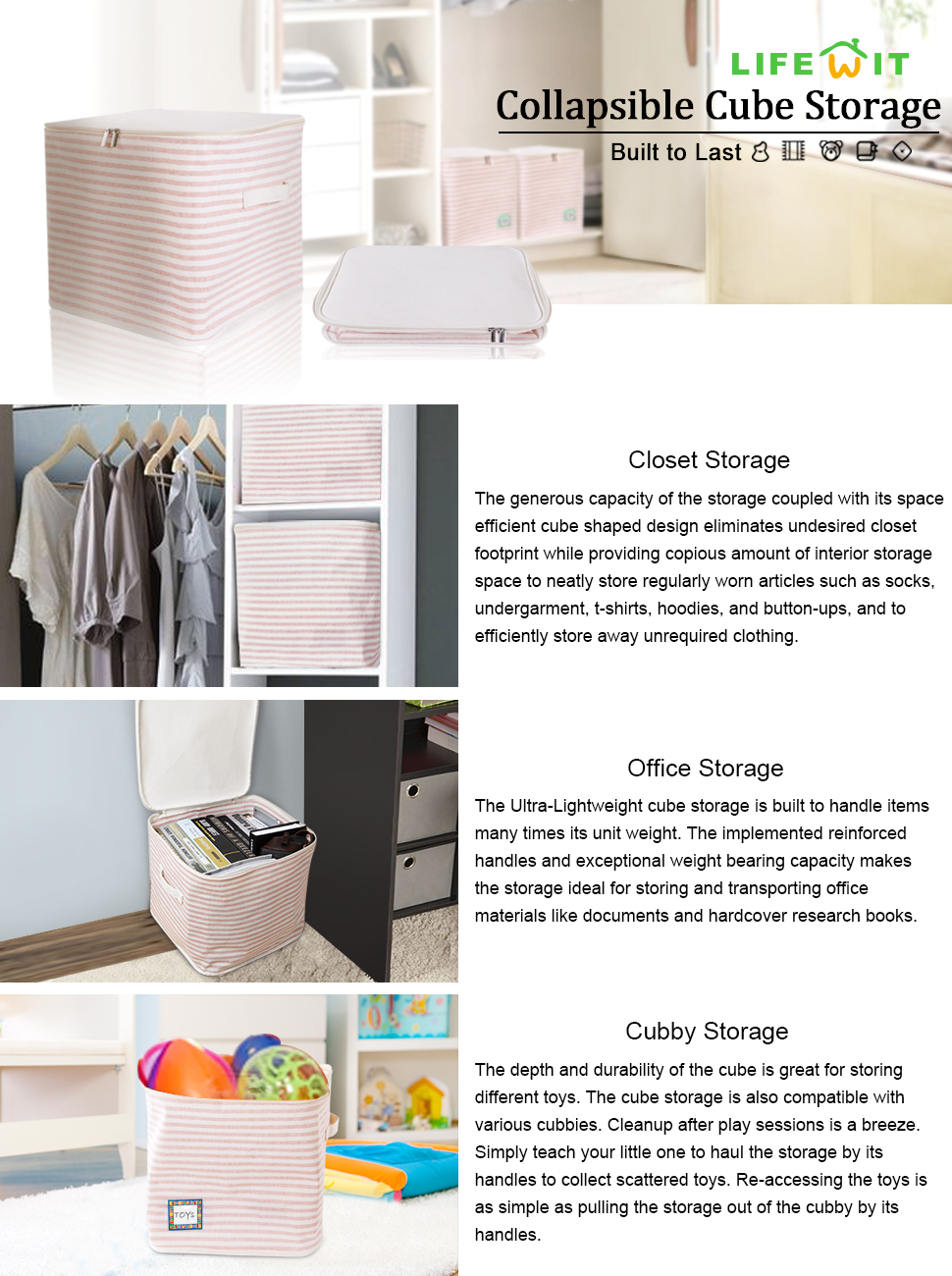 The Lifewit Storage Basket Is Made Of Terylene Cotton To Allow Easy  Cleaning And Shape Maintenance. The Interior Features PEVA Waterproofing  Coating To Keep ...