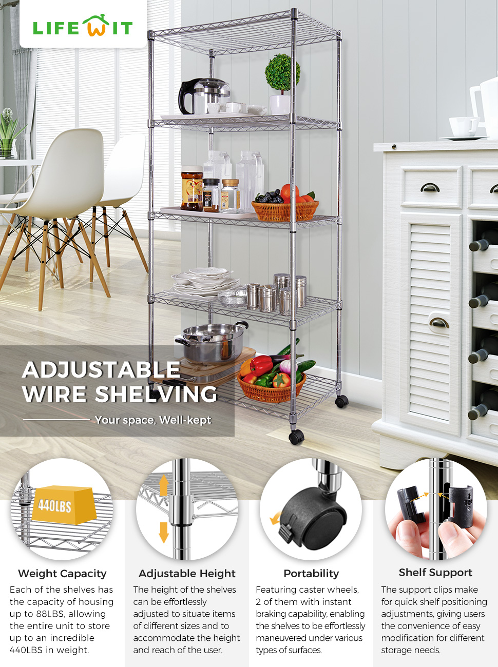 Amazon.com: Lifewit Wire Shelving (Storage Rack): Home & Kitchen