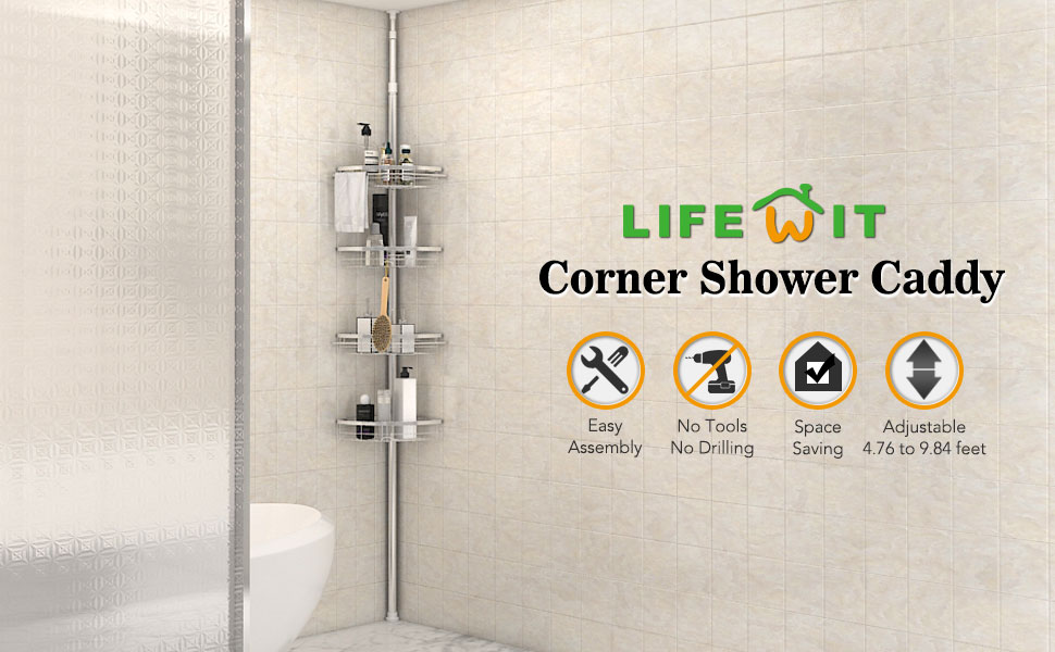 Amazon.com: Lifewit Corner Shower Caddy 4 Tier Adjustable Bathroom ...