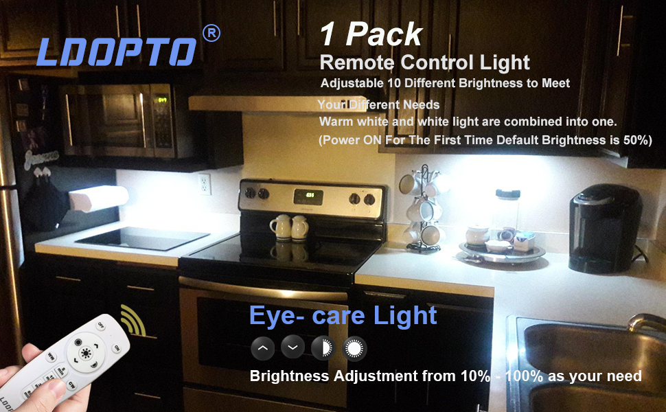 Under Cabinet Lighting With Remote Control Ldopto Dimmable 10 Led Wireless Battery Operated Lights Closet Light Battery Powered Lights Stick