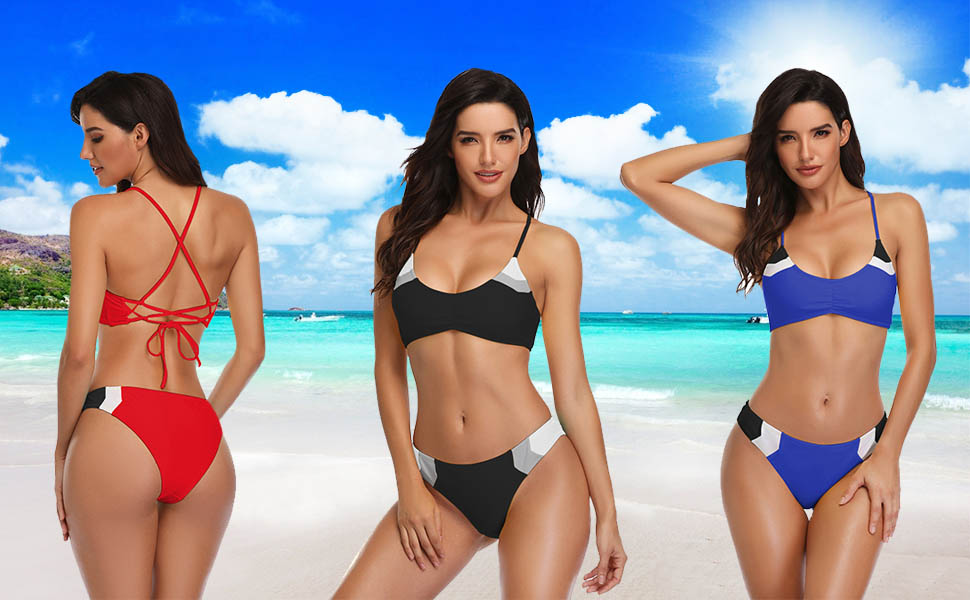 c8278695db1 Amazon.com: MELYUM Womens Two Pieces Bathing Suits Swimsuits Sexy ...