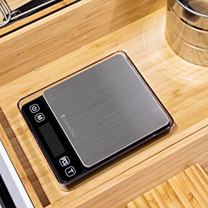 KitchenTour Digital Kitchen Scale - 500g/0.01g High Accuracy Precision Multifunction Food Meat Scale Jewelry Lab Carat Powder Scale with Back-Lit LCD ...