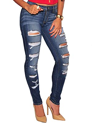 High waisted stretch destroyed jeans