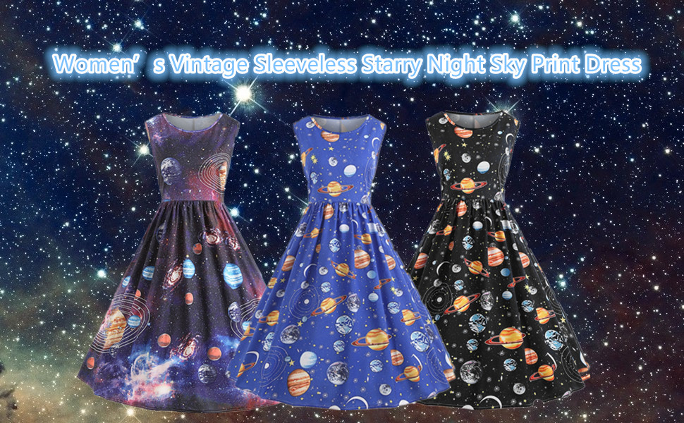 25705fbc2d85 Welcome to our shop Nicetage! We wish you a pleasant shopping! Nicetage  Women Vintage Printing Starry Sky Planet Space Dress