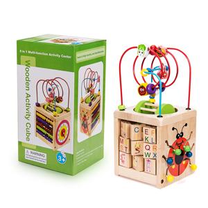 Amazon Com 6 In 1 Wooden Activity Cube Bead Maze Multipurpose