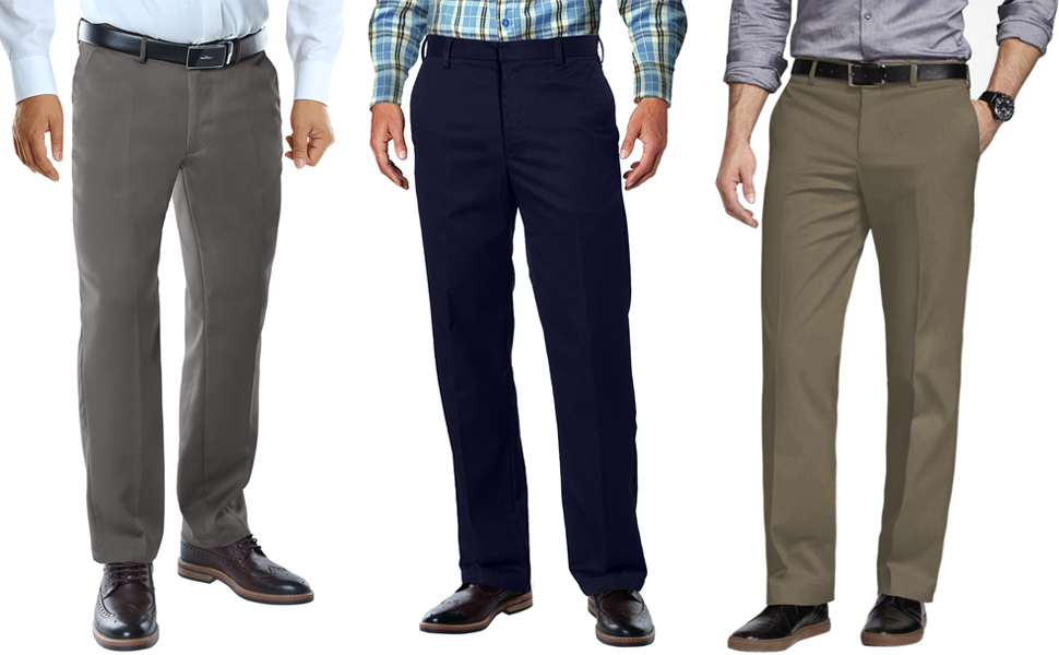 Match Mens Relaxed Fit No-Iron Plain Front Dress Pants