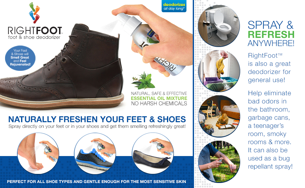 09952f61083 #1 Most Effective Foot and Shoe Deodorizer Spray - All Natural and 100%  Safe for All Shoes &...
