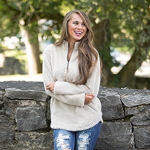 Alelly Women's Long Sleeve 14 Zip Pullover Jacket Outwear Sweatshirt Winter Coat