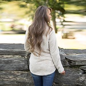 Alelly Women's Long Sleeve 14 Zip Pullover Jacket Outwear Sweatshirt Winter Coat-2